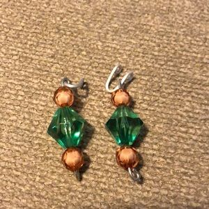 Jewelry - Handmade girls beaded faux earrings